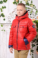 Куртка для мальчика удлиненная демисезонная красная с капюшоном