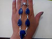 Оригинальное ожерелье с натуральным камнем лазурит в серебре. Индия!