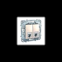 Розетка телефонная RJ-11 1-модульная слоновая кость Unica Schneider Electric MGU5.9090.25ZD