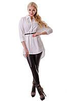Женская блузка удлиненная модная белая рубашка
