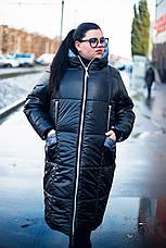 Длинная куртка для полных женщин Ариша черная, фото 2