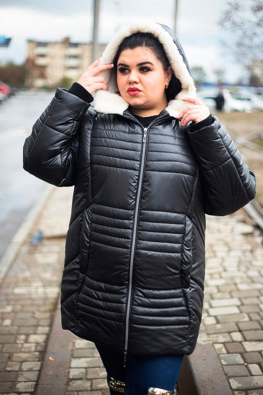 Женская куртка для полных зима София черная