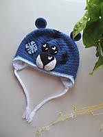 Вязанная шапка мишка тедди