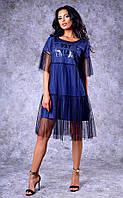 Женское двухслойное  джинсовое платье-майка средней длины