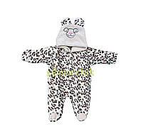 """Человечек детский теплый """"Леопард"""" с капюшоном и ушками (махра), 56, 62, 68 р-р"""