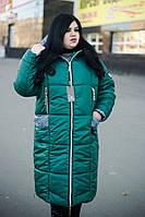 Длинная куртка для полных женщин Ариша зеленая