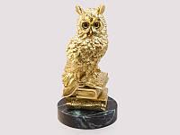 Статуэтка Сова золото натуральный камень