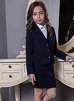Школьная форма на девочку: жакет Надин Размеры 122- 158 Цвет синий, черный