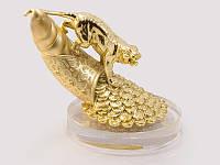 Статуэтка Тигр на роге изобилия золото хрусталь