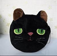 Кошелёчек кошелёк детский котёнок чёрный с зелёными глазами 3д 3d кошелёк