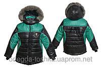 Зимняя куртка для мальчика от 2 до 10 лет (черный с зеленым)