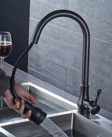 Смеситель кухонный в выдвижной лейкой Art Design BL01 черный