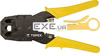Клiщi TOPEX для обтискання телефонних наконечникiв 4P, 6P, 8P (32D409)