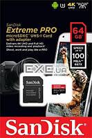 """Карта пам""""ятi SanDisk 64GB microSDXC V30 A1 UHS-I U3 R100/ 90MB/ s 4K Extreme P (SDSQXCG-064G-GN6MA)"""