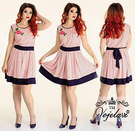 Платье из штапеля с аппликацией цветок больших размеров 48+ арт 55395-92