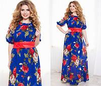 Шифоное платье - фонарик в пол 1026 батал (НИН55)
