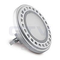 Лампа AR111 с цоколем G53 GTV PowerLED 12Вт 850Лм 12VDC 120° 3000K, матовое стекло