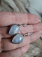 Нежные серьги - натуральный лунный камень. Серьги с лунным камнем. Индия!