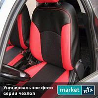 Чехлы для Hyundai ix35 (Tucson ix), Черный + Красный цвет, Экокожа