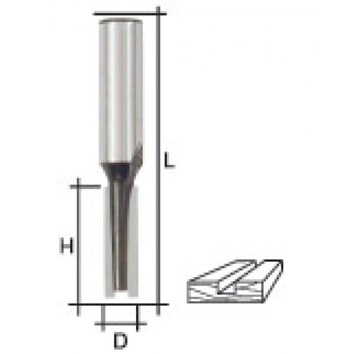 Фреза пазовая прямая с двойным лезвием, DxHxL = 6х20х58 мм
