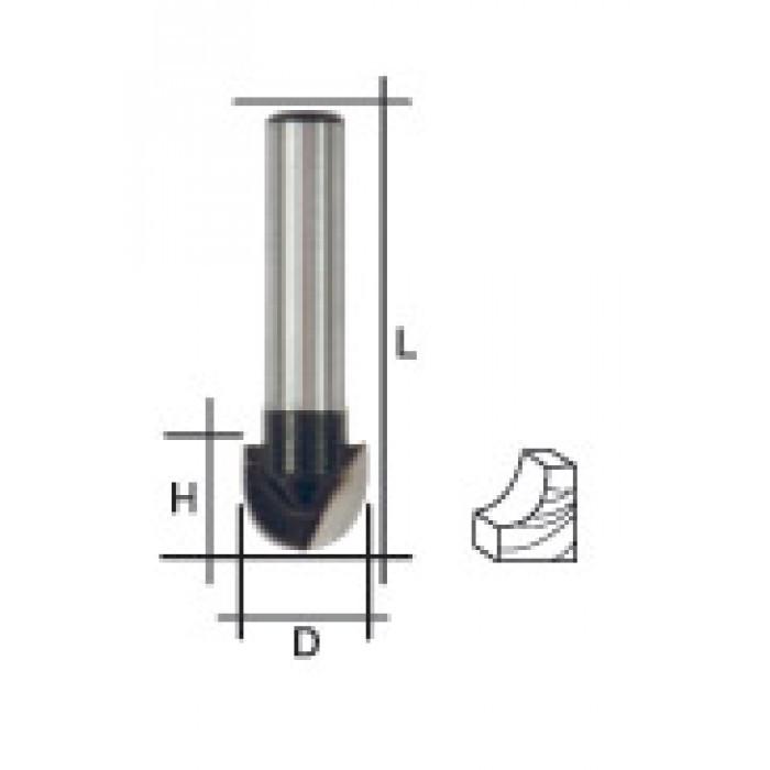Фреза пазовая галтельная, DxHxL = 12х9,5х42 мм
