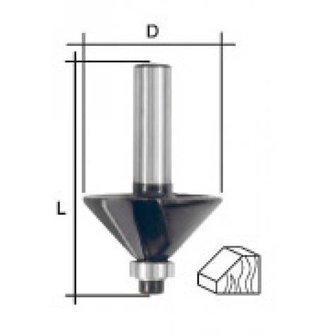 Фреза кромочная конусная с нижним подшипником, угол 45гр., DxL = 25х50 мм, фото 2