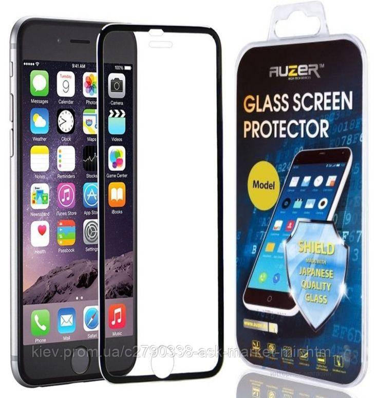 Защитное стекло Apple iPhone 6 Plus, 6S Plus|Auzer|Черный|Углы закругленные