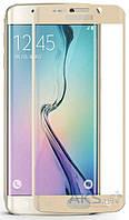 Защитное стекло Samsung G925 Galaxy S6 Edge|Tempered Glass|Золотой|На весь экран|