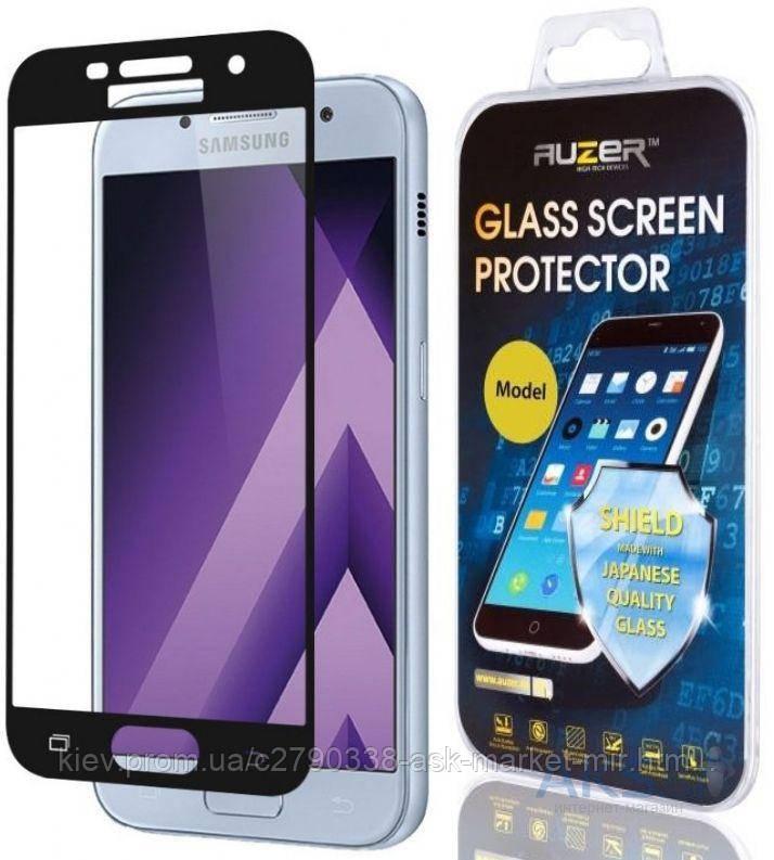 Защитное стекло Samsung A720 Galaxy A7 2017|Auzer|Черный|На весь экран