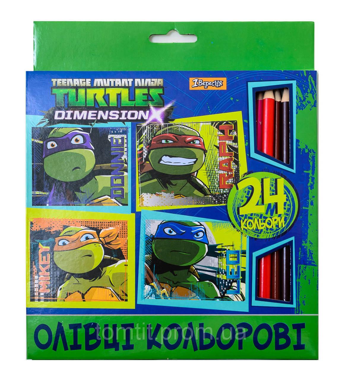 """Карандаши цветные трехгранные """"Ninja Turtles - Черепашки ниндзя"""" 24 цвета, ТМ """"1 Вересня"""""""