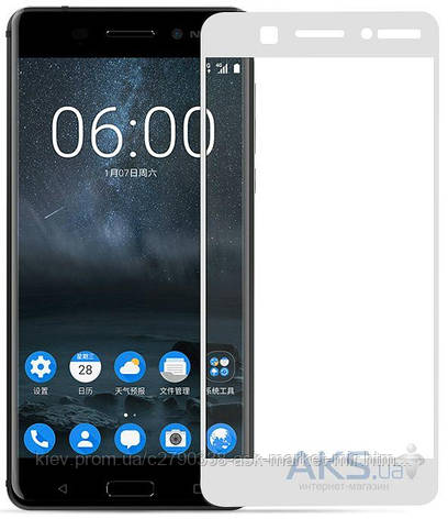 Защитное стекло Nokia 6|Tempered Glass|Белый|На весь экран, фото 2