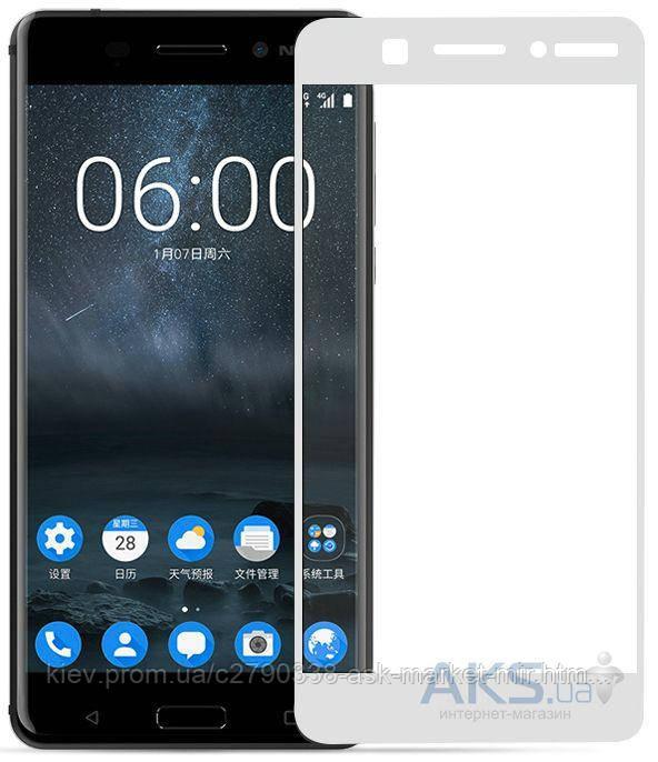 Защитное стекло Nokia 6|Tempered Glass|Белый|На весь экран