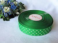 Репсовая лента в горох  на метраж. Цвет зеленый.  Ширина 2.5 см