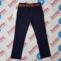 Котоновые подростковые брюки синего цвета для мальчика оптом  Katenvin