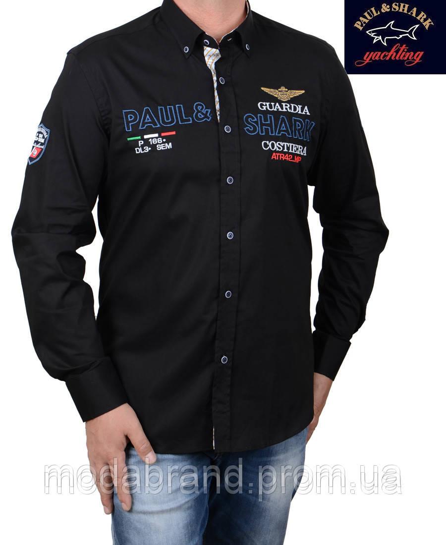 1140ea51f40 Стильная мужская рубашка Paul Shark-1496 черная -