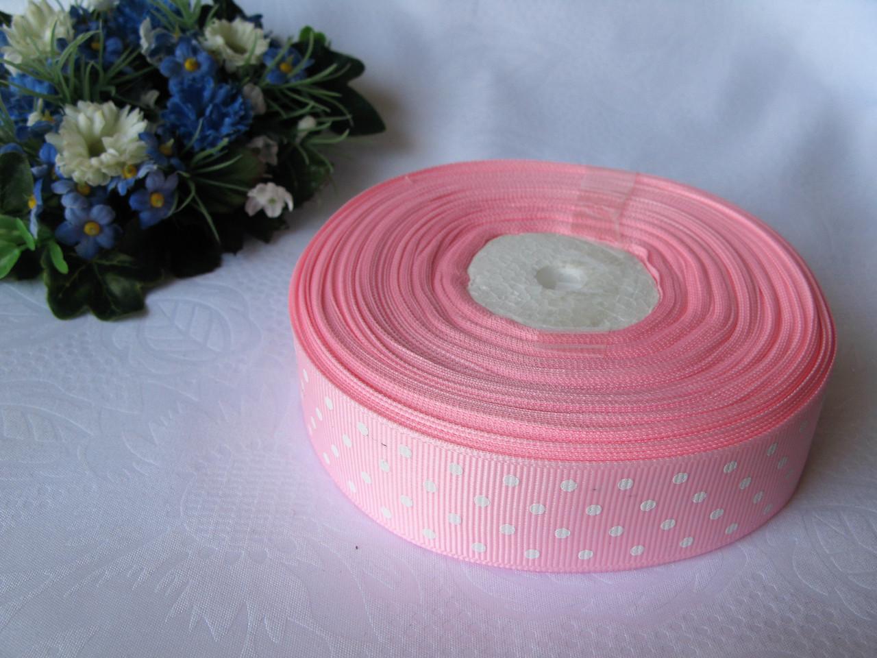 Репсовая лента в горох на метраж. Цвет розовый.  Ширина 2.5 см