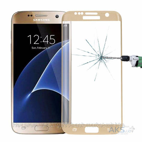Защитное стекло Samsung G935 Galaxy S7 Edge Tempered Glass Золотой На весь экран, фото 2
