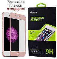 Защитное стекло Apple iPhone 6, iPhone 6S|Devia|Золотой|На весь экран|(+ пленка на заднюю панель)