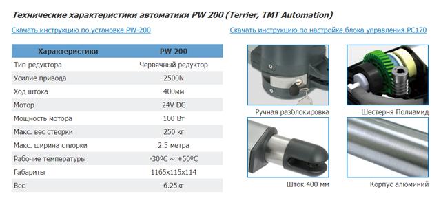 Технические характеристики PW-200