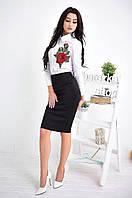 Костюм женский белая рубашка с вышивкой и юбка-карандаш разные цвета Ks523