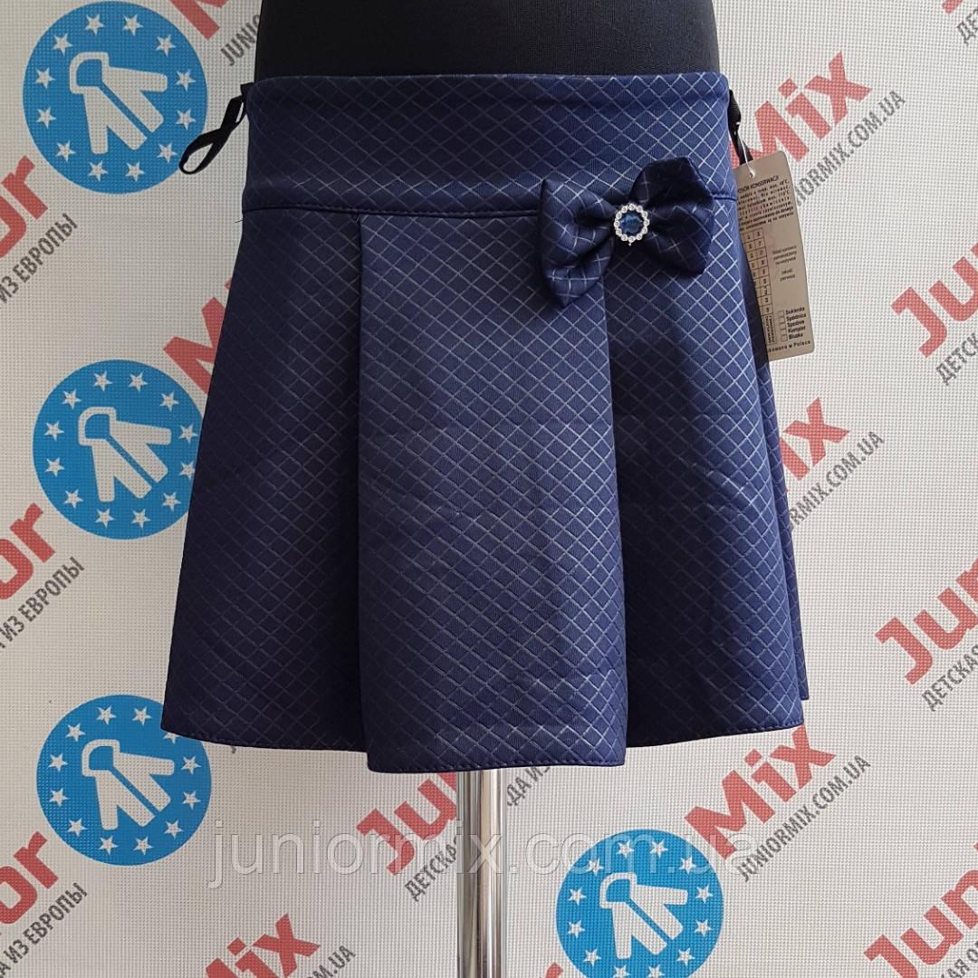 Детская синяя школьная юбка для девочек оптом ASJOКлетка