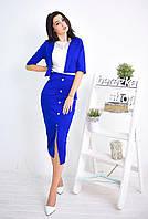 Костюм модный юбка с завышенной талией и болеро дайвинг разные цвета Kb524