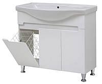 """Тумба под раковину для ванной комнаты с корзиной Марко 95 Т-11-К с умывальником """"Изео"""" Юввис"""