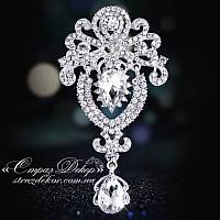 Брошь 9,5*5см корона с подвеской Crystal (кристалл прозрачная)