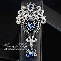 Брошь 9,5*5см корона с подвеской Dark Saphire и Crystal (темно-синий и кристалл), фото 1