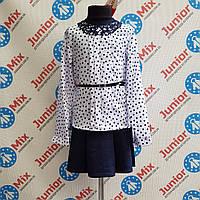 Нарядная детская блузка в горошек под пояс  MARIATEX ОПТОМ.ПОЛЬША