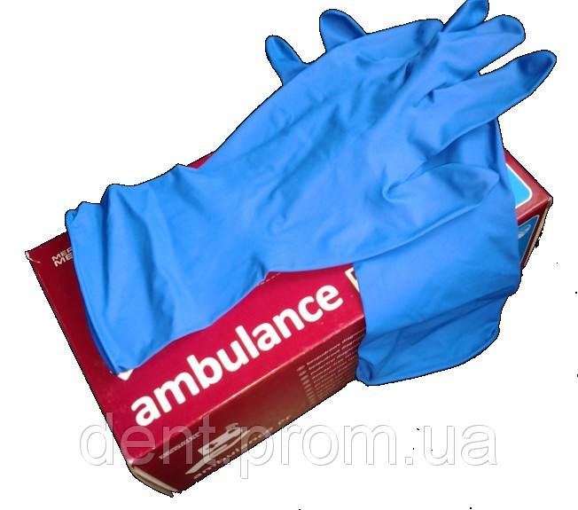 Перчатки медицинские латексные перчатки AMBULANCE PF 50 шт./уп.
