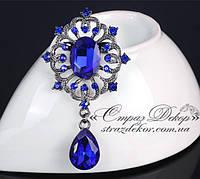 Брошка 6,9*3,8 см ретро з підвіскою і синіми кристалами Saphire, фото 1