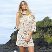 Пляжное бежевое платье с рукавом РМ7764