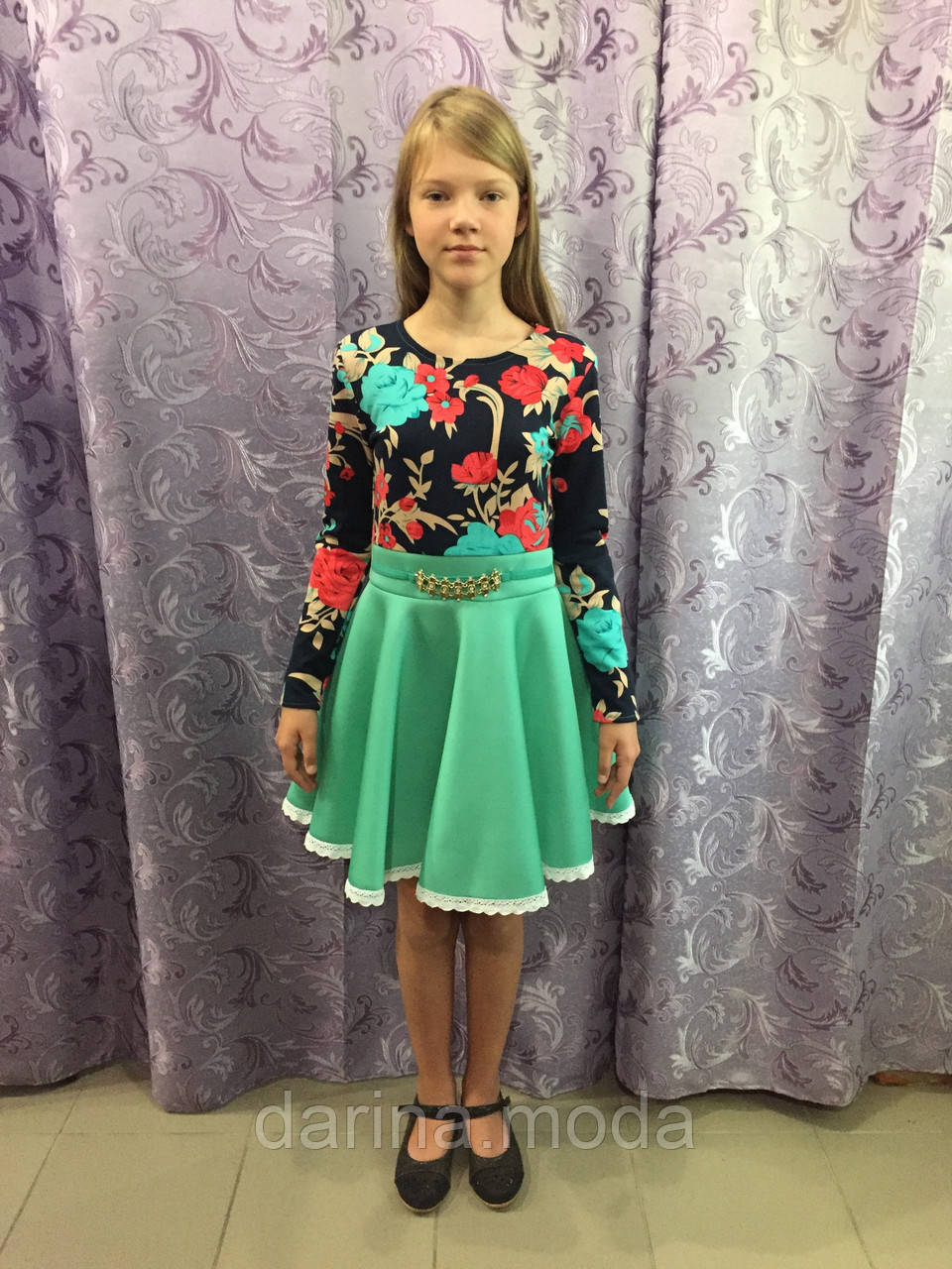 Платье для девочки с длинным рукавом 128,134,140 см